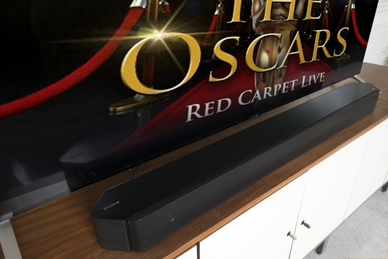 """The Sony HT-ST9 7.1 slim 3.5"""" x 44.5"""" profile means it won't get in the way of what you're watching. Wall-mounting is easy, too, and the sleek black design integrates seamlessly with the rest of your Home Cinema setup."""