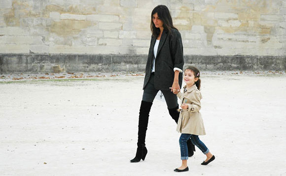 Runway meets school run. Emmanuelle and her daughter proves that style is in the jeans!